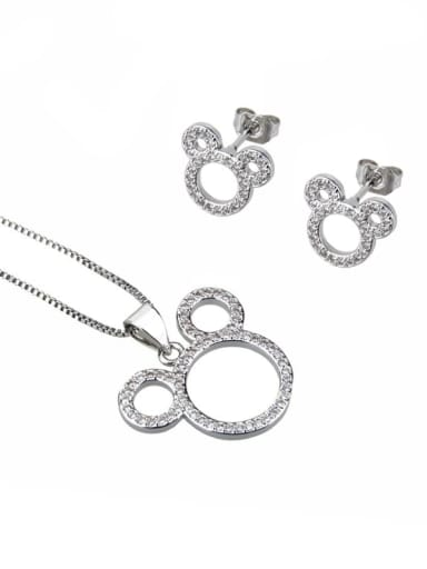 Platinum plating Brass Cubic Zirconia Minimalist Mouse  Earring and Necklace Set