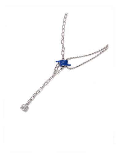 Dark blue oil drop Zircon Necklace Brass Cubic Zirconia Tassel Vintage Tassel Necklace