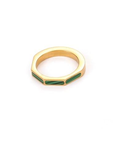 Malachite Ring Brass shell Geometric Minimalist Band Ring