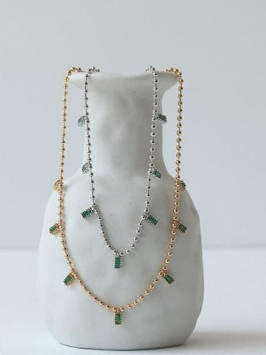 Brass Cubic Zirconia Geometric Dainty Necklace