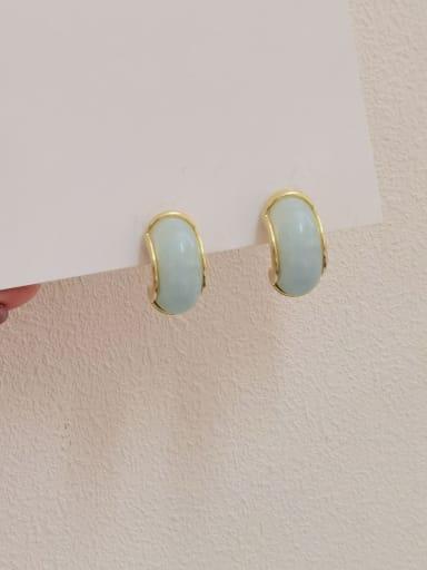 14k Gold light blue Brass Resin Geometric Trend Stud Earring