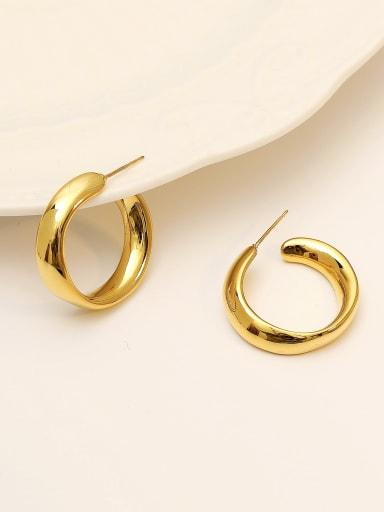 gold Brass Smooth Geometric Minimalist Hoop Earring
