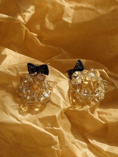 Champagne Brass Crystal Bowknot Hip Hop Drop Earring