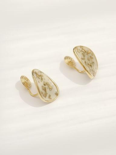 White [ear clip] Brass Enamel Geometric Bohemia Clip Earring