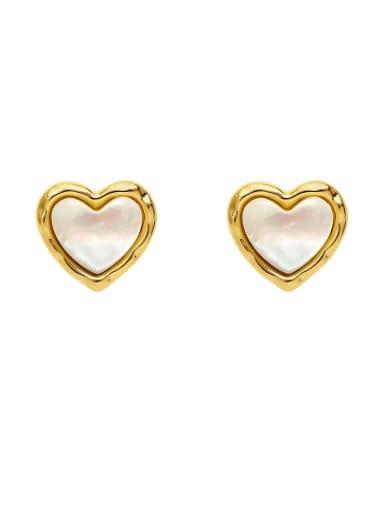 Brass Shell Heart Minimalist Stud Earring