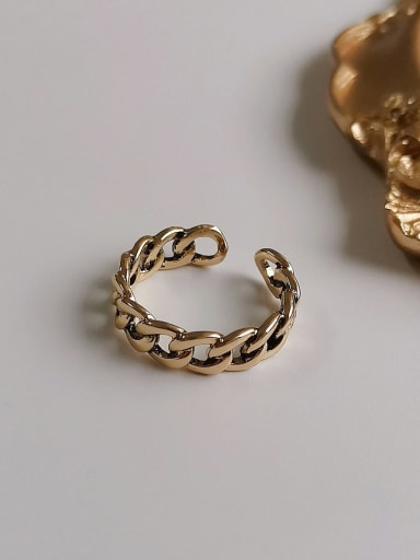 Ancient gold Copper Retro Hollow  Geometric Chain  Free Size Band Ring