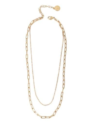Double layer Necklace Brass Shell Geometric Vintage Multi Strand Necklace