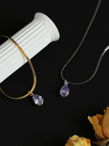Brass Crystal Water Drop Minimalist Necklace