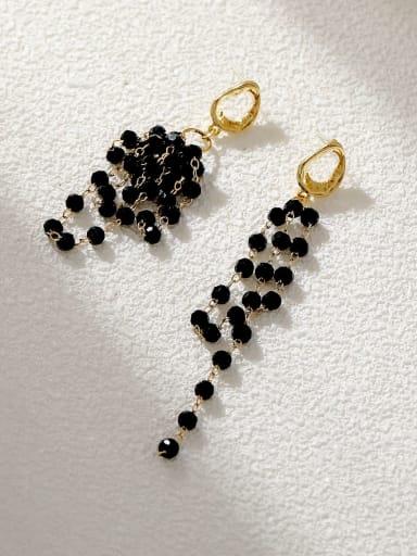 14k Gold Black Brass Crystal Tassel Minimalist Threader Earring