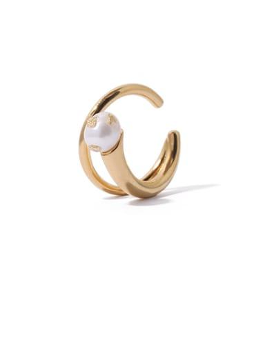 Brass Imitation Pearl Irregular Minimalist Stackable Ring