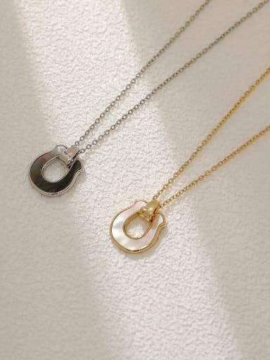 Brass Shell Geometric Minimalist Necklace