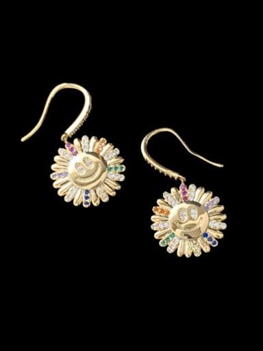 Brass Cubic Zirconia Flower Trend Hook Earring