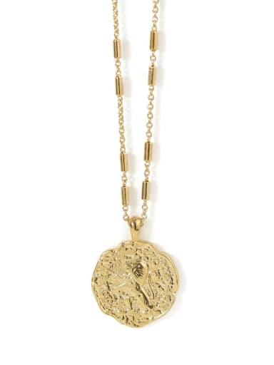 Brass Lion Vintage round pendant Necklace