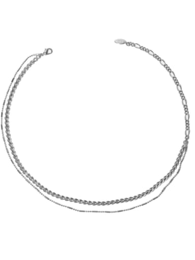 Platinum Brass Geometric Hip Hop Multi Strand Necklace