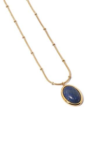 LAN Dongling Brass Cats Eye Geometric Vintage Necklace