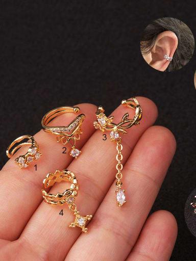 Brass with Cubic Zirconia White Tassel Dainty Clip Earring(Single)