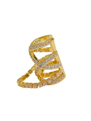 Brass Cubic Zirconia Geometric Vintage Single  Clip Earring