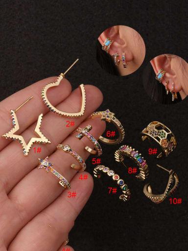 Brass Cubic Zirconia Star Hip Hop Huggie Earring