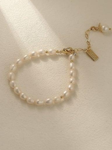 Brass Imitation Pearl Round Minimalist Beaded Bracelet