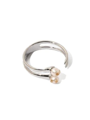 Brass Imitation Pearl Geometric Minimalist Stackable Ring