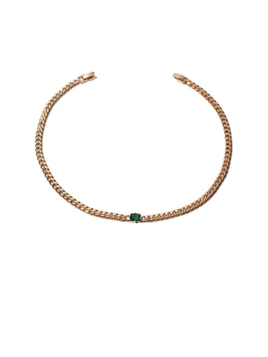 Green zirconium Necklace Brass Cubic Zirconia Geometric Hip Hop Necklace