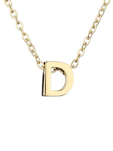 D 14 K gold Titanium Letter Minimalist Initials Pendant Necklace