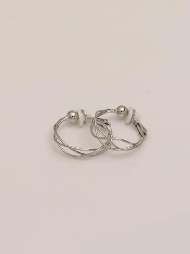 White k-ear buckle Brass Imitation Pearl Geometric Vintage Hoop Earring