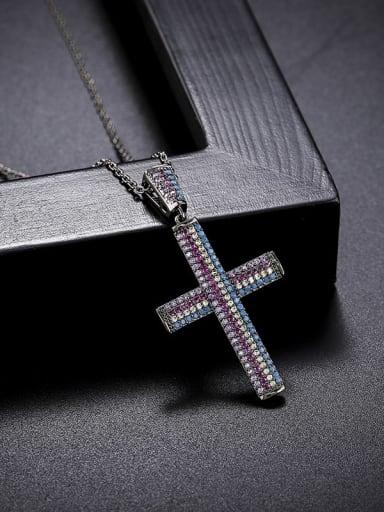 Color zircon Brass Cubic Zirconia Cross Minimalist Regligious Necklace