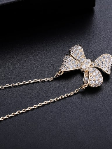 Champagne gold Brass Cubic Zirconia Butterfly Minimalist Necklace