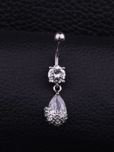 Section e (Single) Stainless steel Cubic Zirconia Flower Hip Hop Belly studs & Belly Bars
