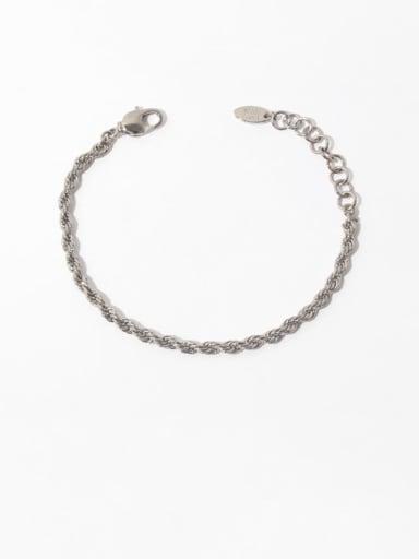 Platinum Brass Irregular Vintage Twist Chain  Woven Bracelet