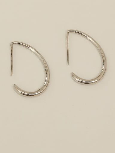 White K Brass  smooth Geometric Minimalist Hook Earring