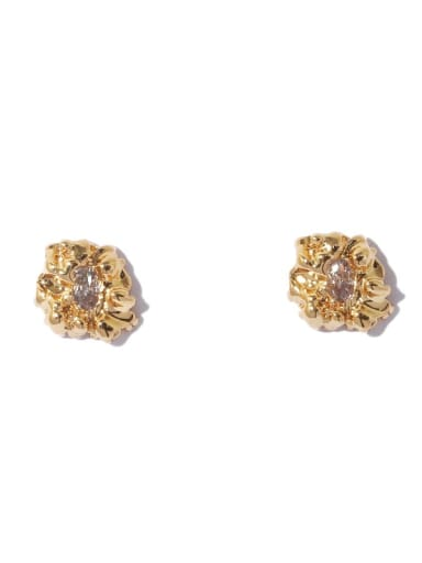 Gold Earrings Brass Cubic Zirconia Geometric Vintage Stud Earring