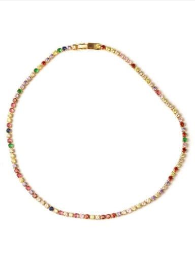 Necklace Brass Cubic Zirconia Multi Color Geometric Vintage Choker Necklace