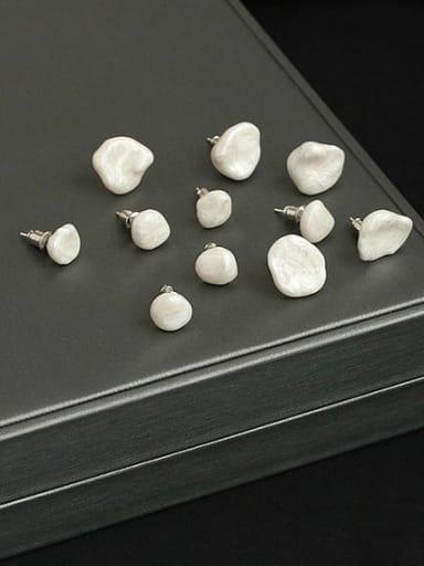 Brass Freshwater Pearl Irregular Minimalist Stud Earring