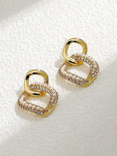 Brass Cubic Zirconia Geometric Minimalist Drop Earring