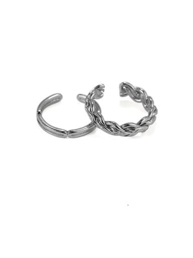 Brass Irregular Vintage Twist Line  Midi Ring