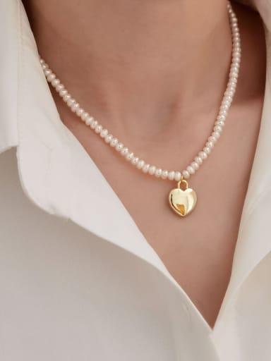 Brass Imitation Pearl Heart Vintage Necklace