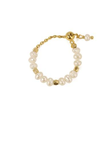 Brass Freshwater Pearl Irregular Minimalist Midi Ring