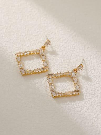 Brass Cubic Zirconia Geometric Vintage Drop Earring