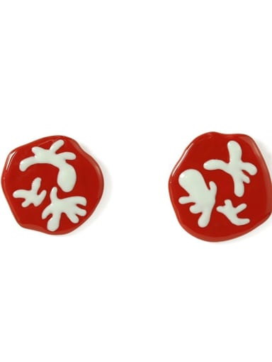 Red earclip Alloy Enamel Irregular Cute Color Contrast Asymmetry Stud Earring