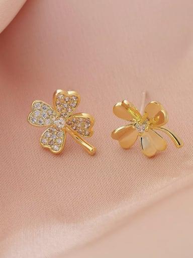 Brass Cubic Zirconia Clover Minimalist Stud Earring