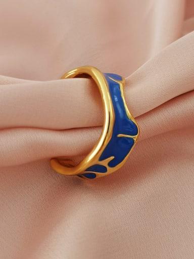 16k gold Brass Enamel Geometric Minimalist Band Ring