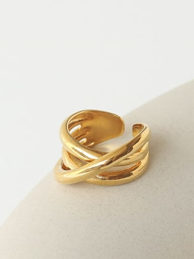 Brass Hollow Geometric Minimalist Stackable Ring