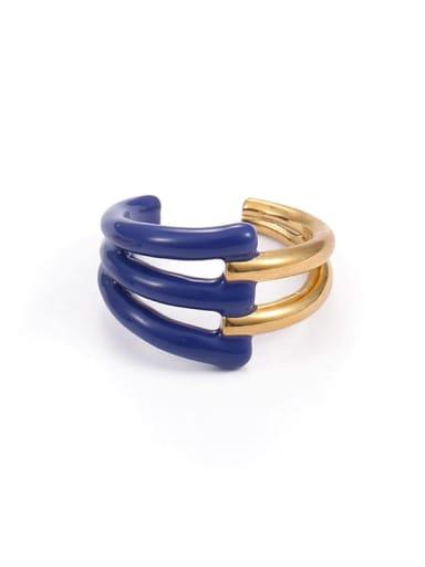 Blue oil drop (non adjustable) Brass Enamel Geometric Minimalist Band Ring