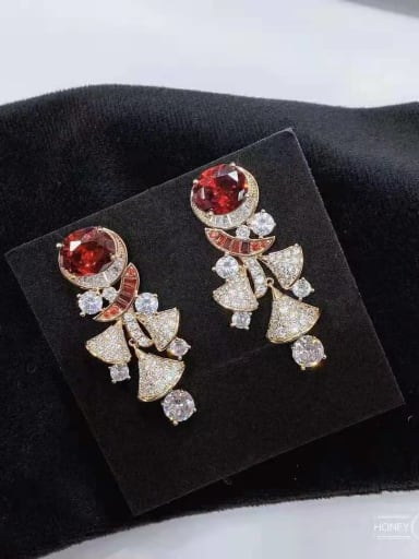 red Brass Cubic Zirconia Irregular Luxury Cluster Earring