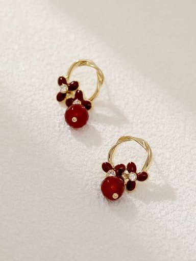 14K gold+green Brass Resin Geometric Vintage Drop Earring