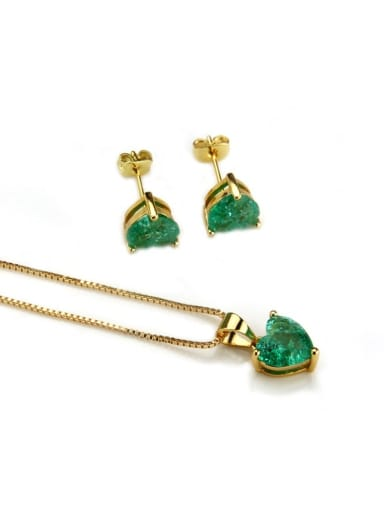 Gold Plated green zircon Brass Heart Cubic Zirconia Earring and Necklace Set