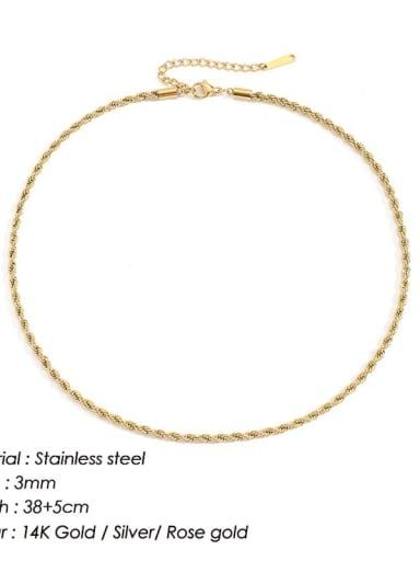 Gold 3mm * 38+ 5cm Stainless steel Irregular Hip Hop Necklace