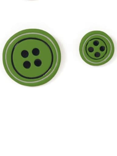 Green Earrings Alloy Enamel Geometric Cute  Candy color asymmetry Buttons Stud Earring